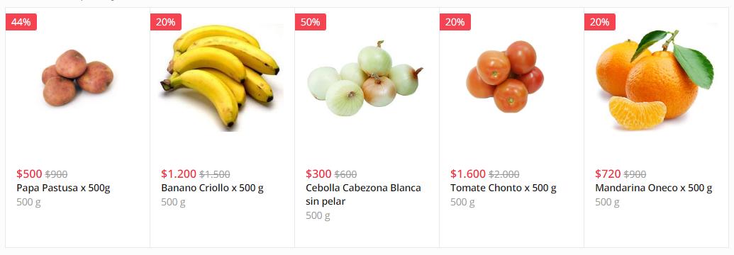 En Mercadoni: Frutas y Verduras frescas