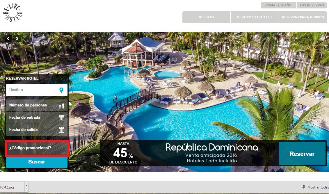 Descuento Códigos Promocionales Be Live Hotels